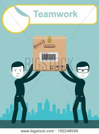 delivery service man with box vector. Teamwork. Stock vector illustration