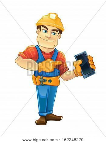 Handyman, builder in helmet pointing to the smartphone. Vector illustrtation isolate on white background.