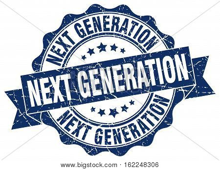 next generation. stamp. sign. seal. round. retro. ribbon