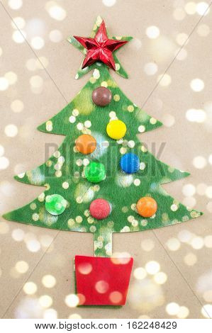 Christmas Tree Decorated With Sweet Bonbons
