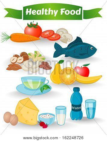 Healthy Food, Water, Nuts, Green Tea, Leaves, Vegetables, Fruit, Beverages, Cheese, Eggs, Natural Yogurt, Milk, Apple, Pear, Orange, Banana, Carrot, Tomato, Edible Mushroom, Vector illustration EPS10