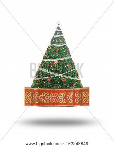 Christmas tree look like santa hat.Isolate on white background