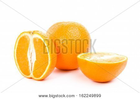 Juicy oranges with pulp on a white background