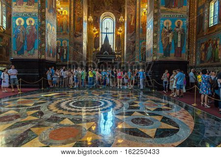 Saint Petersburg, Russia - July 26, 2014:  Interior Of The Church Of The Savior On Spilled Blood