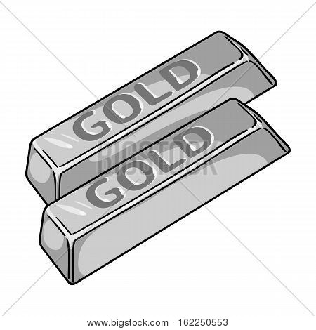 Golden bars icon in monochrome style isolated on white background. Money and finance symbol vector illustration.