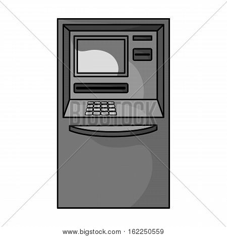 ATM icon in monochrome style isolated on white background. Money and finance symbol vector illustration.