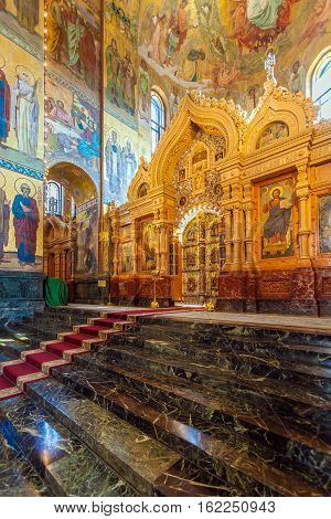 Saint Petersburg, Russia - July 26, 2014:  Interior Of The Church Of The Savior On Spilled Blood Wit