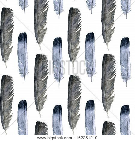seamless pattern with watercolor drawing gray and black feathers