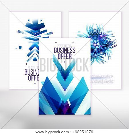 Abstract backgrounds for modern business brochure. Geometric Polygonal Surface Structures. Brochure Layout for Annual Report or A4 Booklet. Vector illustration