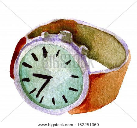 watercolor sketch of wrist watch on white background