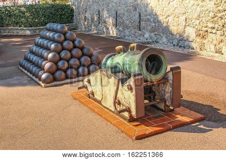 Ancient Mortar On The Streets Of The Principality Of Monaco