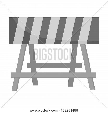 Construction barricade icon in monochrome style isolated on white background. Build and repair symbol vector illustration.