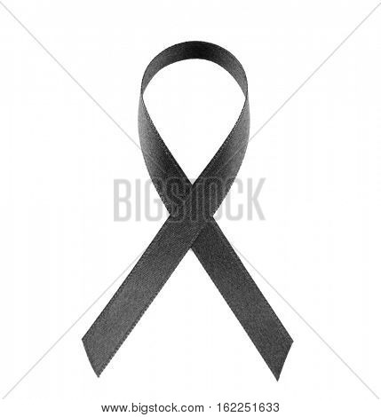 Black ribbon isolated on white. Melanoma and mourning concept