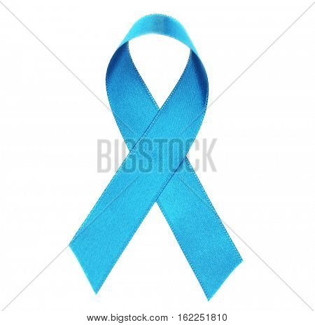 Sea-green ribbon isolated on white. Ovarian cancer and gynecological disorders concept