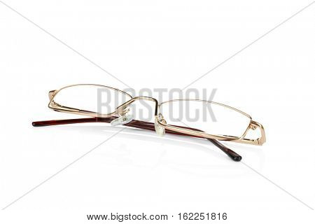 Close up view of modern glasses on light background