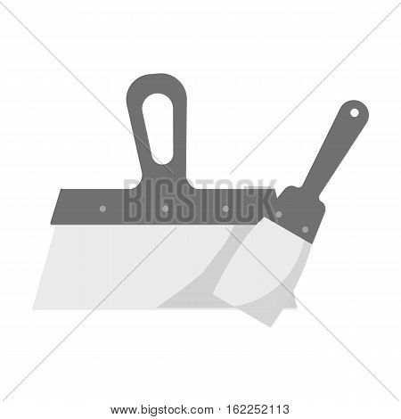 Putty knives icon in monochrome style isolated on white background. Build and repair symbol vector illustration.