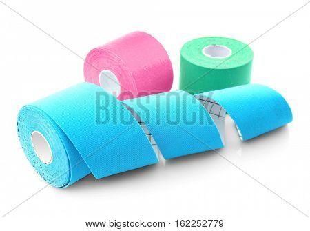 Medical bandage rolls isolated on white