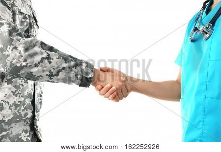 Soldier and doctor shaking hands isolated on white