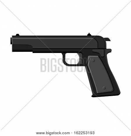 Military handgun icon in monochrome style isolated on white background. Military and army symbol vector illustration