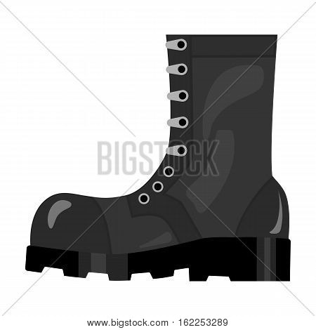 Army combat boots icon in monochrome style isolated on white background. Military and army symbol vector illustration