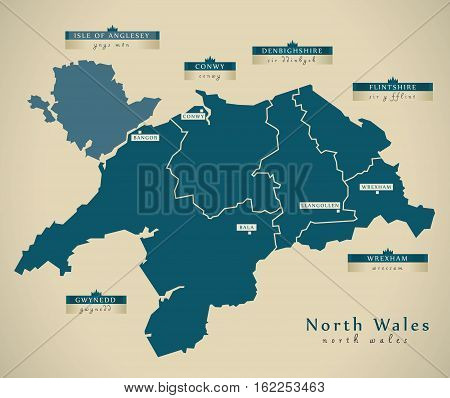 Modern Map - North Wales Uk Illustration