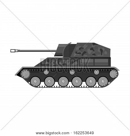 Military tank icon in monochrome style isolated on white background. Military and army symbol vector illustration