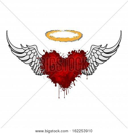 An illustration of a heart with wings on a white background.