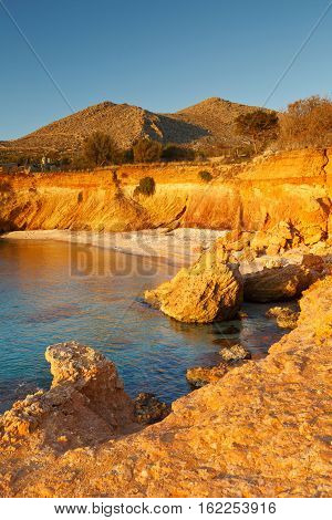 Beach on Halki island in Dodecanese archipelago, Greece.