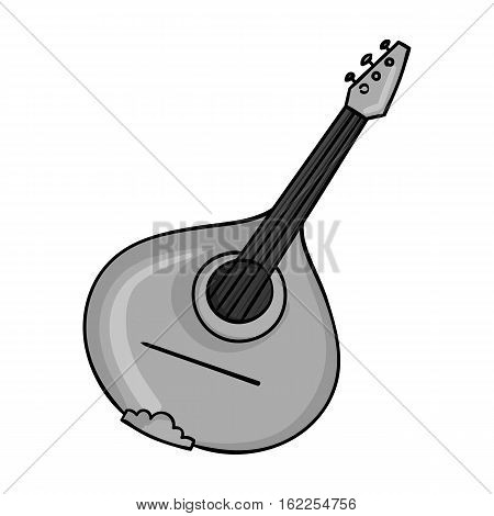 Italian mandolin icon in monochrome style isolated on white background. Italy country symbol vector illustration.