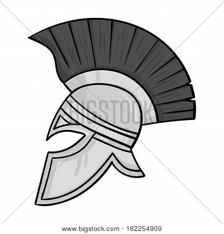 Roman soldier's helmet icon in monochrome style isolated on white background. Italy country symbol vector illustration.
