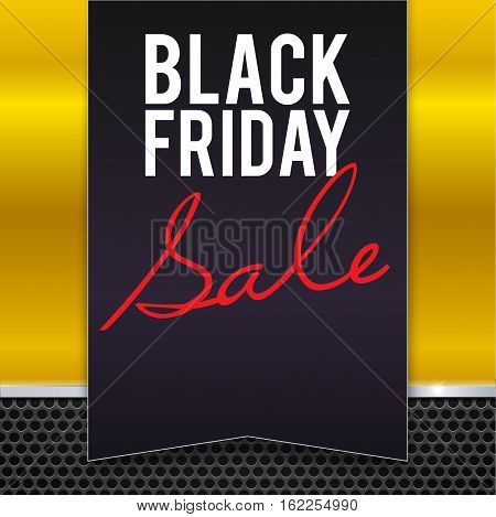 Black Friday sale large black banner, pennant, flag on a yellow background made of yellow painted metal with metal strip and mesh