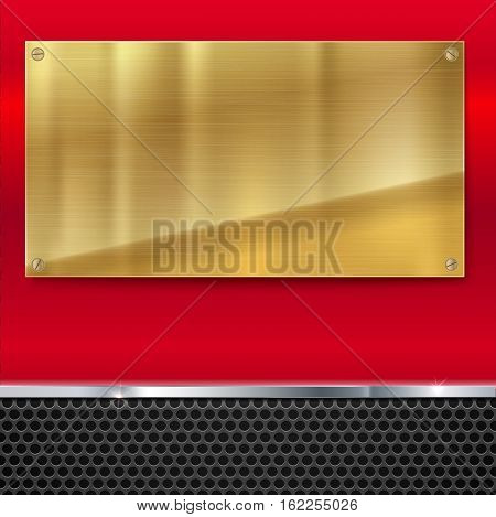 Shiny brushed metal gold, yellow plate with screws. Stainless steel banner on red polished background with metal strip and black mesh, vector illustration for you