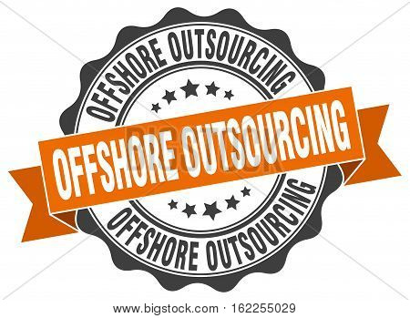 offshore outsourcing. stamp. sign. seal. round. retro. ribbon
