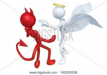 Angel And Devil  Arguing The Original 3D Characters Illustration