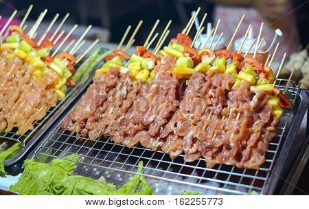 Bar-B-Q or BBQ Pork street food in Thailand