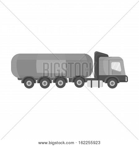 Oil tank trucker icon in monochrome style isolated on white background. Oil industry symbol vector illustration.