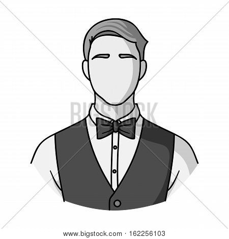 Restaurant waiter with a bow tie icon in monochrome style isolated on white background. Restaurant symbol vector illustration.