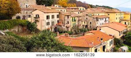 Banner background with houses of Tuscany city of Cortona