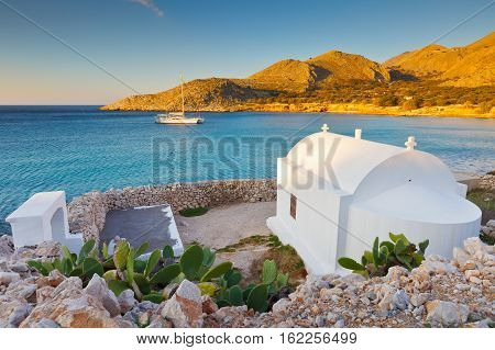 Church on Halki island in Dodecanese archipelago, Greece.