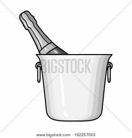 Bottle of champagne in an ice bucket icon in monochrome style isolated on white background. Restaurant symbol vector illustration.