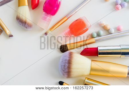 Colorful make up flat lay scene close up