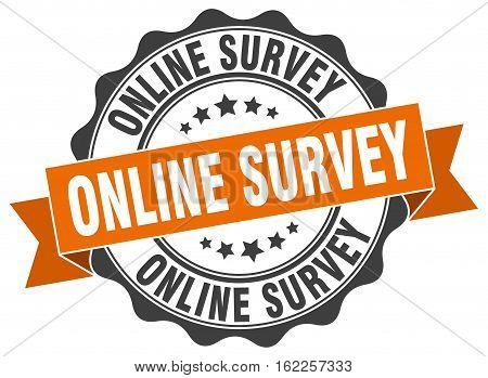 online survey. stamp. sign. seal. round. retro. ribbon