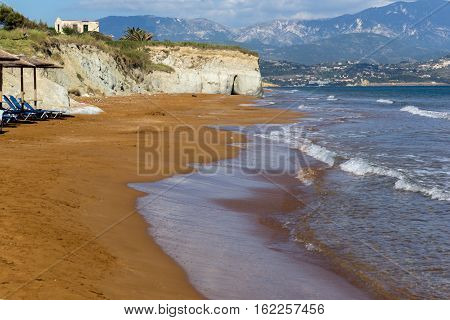 amazing seascape of Xi Beach,beach with red sand in Kefalonia, Ionian islands, Greece