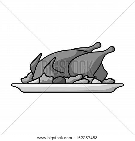 Roasted chicken with garnish icon in monochrome style isolated on white background. Restaurant symbol vector illustration.
