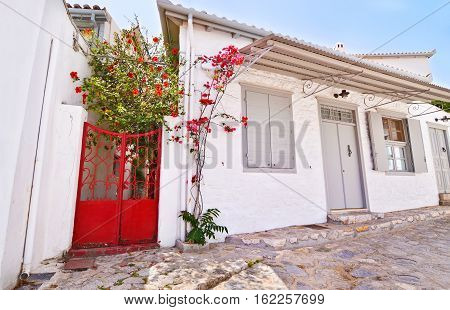 country houses at Hydra island Greece - traditional island architecture