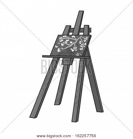 Easel with masterpiece icon in monochrome style isolated on white background. Artist and drawing symbol vector illustration.