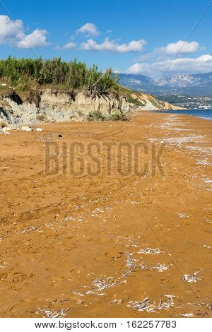 amazing pamorama of Xi Beach,beach with red sand in Kefalonia, Ionian islands, Greece
