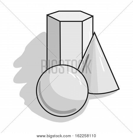 Geometric still life icon in monochrome style isolated on white background. Artist and drawing symbol vector illustration.