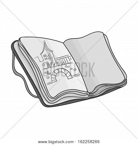 Sketchbook with drawings icon in monochrome style isolated on white background. Artist and drawing symbol vector illustration.