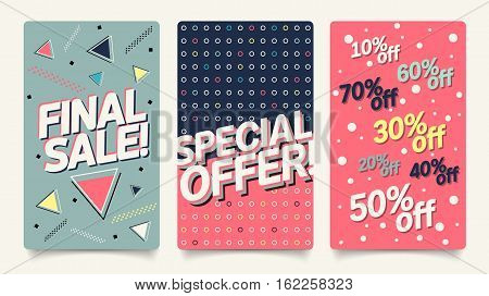Sale website mobile banner template set. Modern and 80's, 90's style bright colorful vector for social media, posters, email, print, ads, promotional material. Huge sale and best offer set.